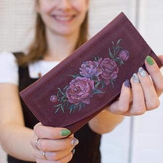 Бордовый кожаный кошелек клатч с цветочной росписью