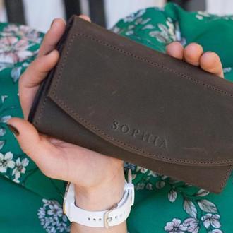 Коричневый кожаный длинный кошелек женский с тиснением