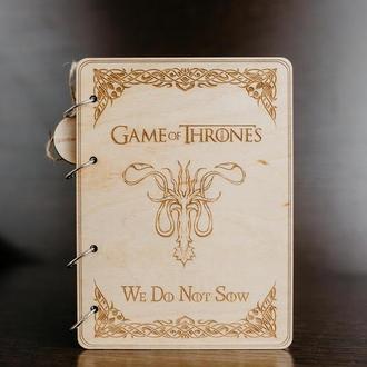 """Блокнот в деревянной обложке """"Game of thrones"""""""