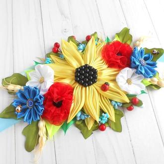 Украшение на Пасху в украинском стиле Декор пасхальной корзины с подсолнухом в подарок
