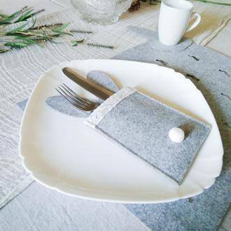 Конверт, чехол (куверт) для столовых приборов с ушами и кружевом. Пасхальный декор