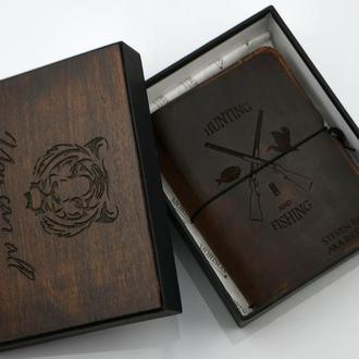 Кожаный блокнот, Маленький кожаный блокнот, Именной кожаный блокнот, Подарок мужчине, Ежедневник