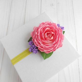Красивая повязка с розой для девочки Розовое украшение для волос Цветочный аксессуар на праздник