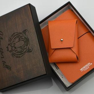 Кожаный именной набор, Оранжевый блокнот, карманный блокнот, блокнот А6, кожаная визитница,
