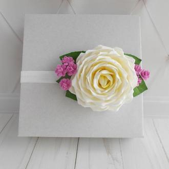 Цветочная повязка на голову для девочки Украшение для волос с розой на праздник Красивый подарок