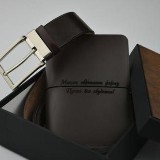 Именной кожаный набор, Оригинальный набор для мужчины, Кожаный мужской ремень, Именной кожаный набор