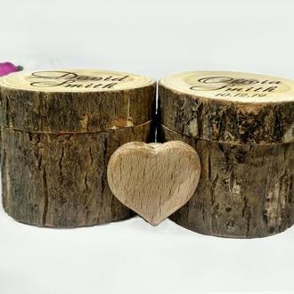Двойная свадебная шкатулочка для колец. Деревянная шкатулка рустик. Свадебная коробочка. Помолвка