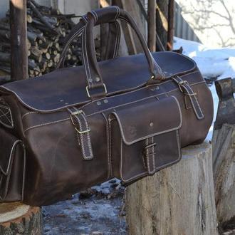 Большая кожаная дорожная сумка BIZON. круглая спортивная сумка из телячьей кожи