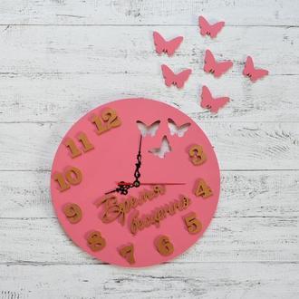 """Настенные часы из дерева """"Время бесценно"""" с бабочками, круглый часы, часы"""