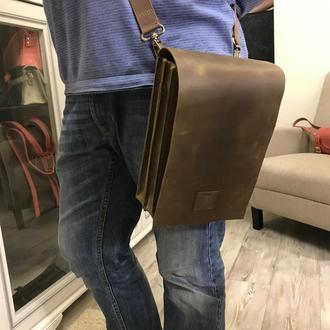 Мужская повседневная кожаная сумка. Рабочая мужская сумка.
