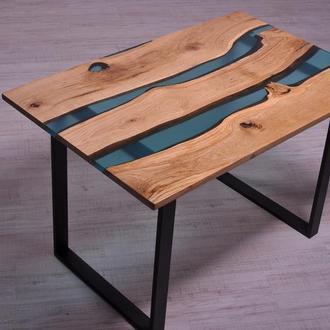 Стол-река с дерева и эпоксидной смолой в стиле LOFT \ Лофт. Стол со слэба