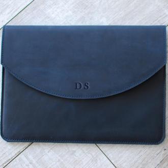 Синий кожаный чехол для планшета с тиснением или росписью под заказ