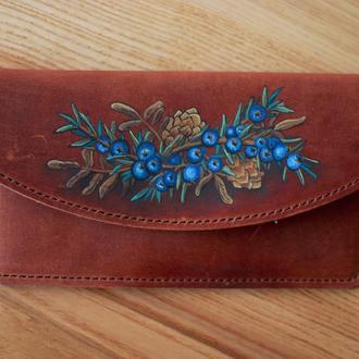 Кожаный чехол для телефона айфона с росписью ручной работы