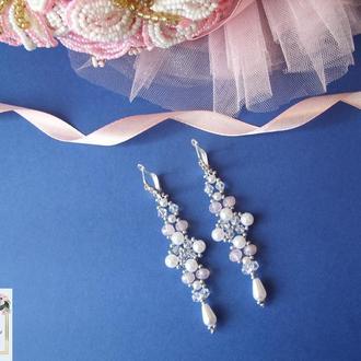 Сережки на весілля, свадебные серьги, украшение на свадьбу, украшение на выпускной,