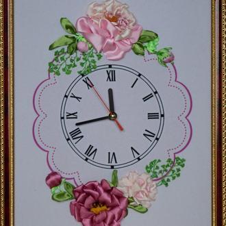 Часы-картина. 1 Вышивка лентами