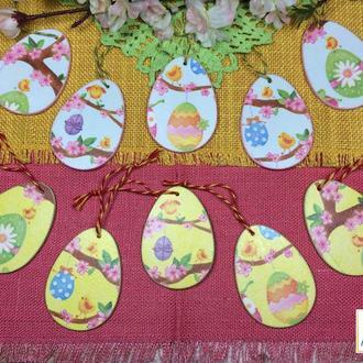 """Набор деревянныхподвесок """"Пасхальные яйца"""" - 10шт"""