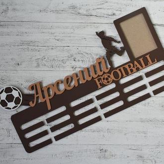 Именная вешалка для медалей футболисту с фоторамкой, мои награды, футбол, достижения