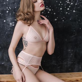 Прозрачный комплект белья из сетки, сексуальное белье в горошек