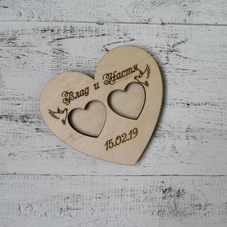 Подставка для обручальных колец из дерева с именами, с датой, блюдце, подушечка, сердце, коробочка