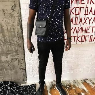 Кожаная сумка через плечо, практичная сумка для парня