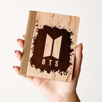 """Деревяная обложка на паспорт """"BTS"""",  паспортная обложка, обложка для паспорта с дерева"""