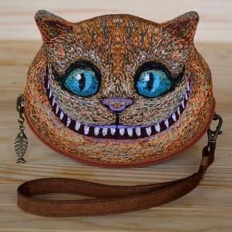 Ключница Чеширский кот, Кошелёк в виде кота, Вышивка кот, Подарок для мальчика, Подарок школьнику