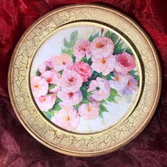 Декоративная настенная тарелка «Винтажные Цветы»