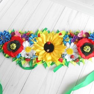 Украшение для пасхальной корзины с цветами Декор в украинском стиле с маками Подарок на Пасху
