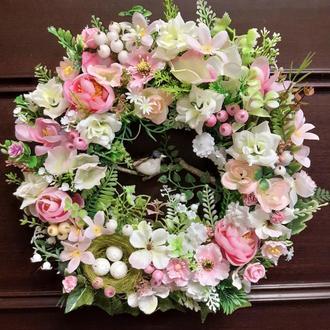 Купить весенний летний венок на дверь  подарок декор великодній вінок