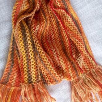 Палантин вязаный оранжевый меланж, палантин шарф весенний крючком , подарок