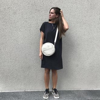 Круглая кожаная сумка, сумка женская, сумка из натуральной кожи, городская сумка