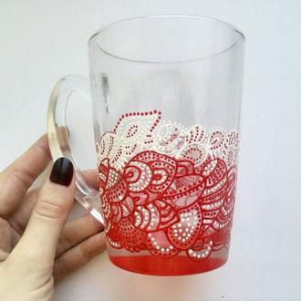 Чашка с цветным дном, ручная роспись