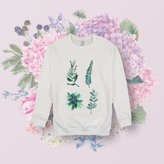 Белый реглан с растениями