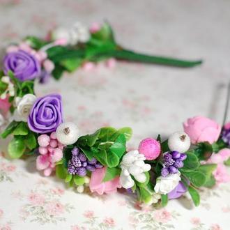 Обруч ободок для волос с цветами и зеленью под любой наряд