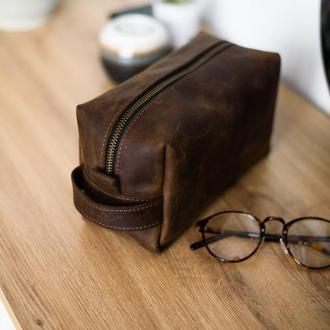 Кожаный несессер, косметичка из кожи, подарок мужчине, шкіряний гаманець,дорожна сумочка,пенал