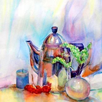 Натюрморт для кухни Картина акварелью Картина в интерьер Заказать картину Картина с цветами