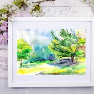 Пейзаж акварелью Природа акварель Картина природа Акварельный этюд Маленькая картина