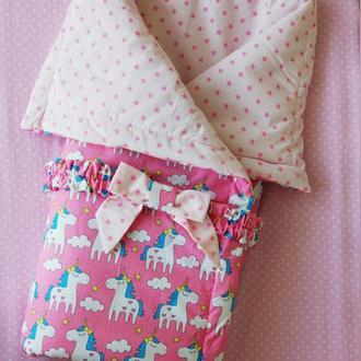 Детское одеяло-конверт Unicorns