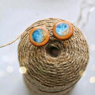 'МОРЕ', Серьги-гвоздики из дерева и эпоксидной смолы, морской стиль, для девушки