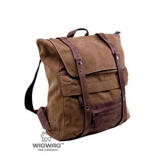 Мужской (женский) рюкзак из коричневого канваса и натуральной кожи