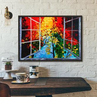 Окно в сад (картина масло/холст) 50х70х2 см
