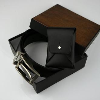 Именной кожаный набор Подарок солидному мужчине Подарок мужчине Кожаный именной ремень
