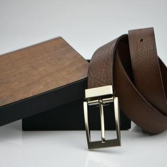 Коричневый мужской ремень Кожаный ремень для мужчины Именной ремень Подарок начальнику подарок папе