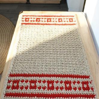 Коврик прямоугольный безворсовый натуральный из джута с красным орнаментом (70х40)