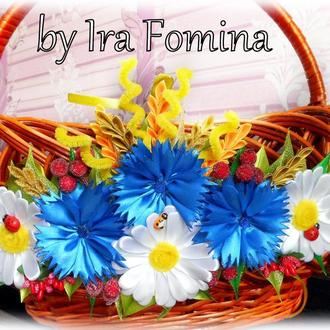 Украшение для пасхальной корзины в украинском стиле Декор с цветами на Пасху ромашки и васильки