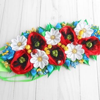 Декор с маками и ромашками на пасхальную корзину Украшение с украинскими цветами на пасху Подарок