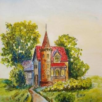 Картина - маркер-акварель Домик с башней