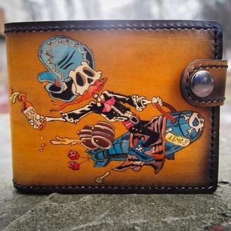 Мужской кошелек, мужское портмоне, кожаный кошелек в подарок мотоциклисту