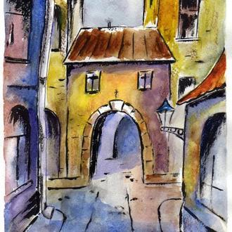 Картина - маркер-акварель Старые улочки, формат А4