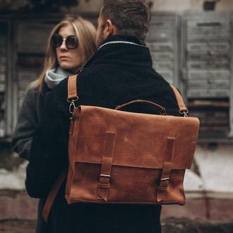 Кожаная сумка, для парня, для девушки, городская сумка